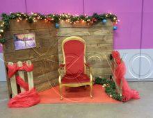 Location de décors de Noël avec une coin et le trône du Père Noël