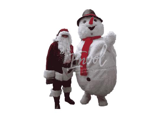 Peluche géante bonhomme de neige avec Père Noël