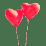 Distribution de ballons flottants en forme de coeurs